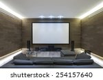 in home theater in luxury home | Shutterstock . vector #254157640
