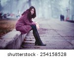 disappointing young woman is... | Shutterstock . vector #254158528