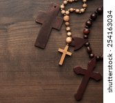 three crosses on the brown... | Shutterstock . vector #254163034