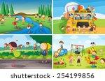 illustration of many children... | Shutterstock .eps vector #254199856