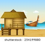 Illustration Of A Beach In...
