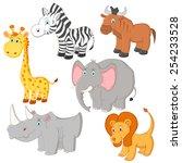 cartoon african animals... | Shutterstock . vector #254233528