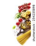 raw pasta with ingredients on... | Shutterstock . vector #254235898