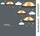 umbrella and rain background... | Shutterstock .eps vector #254243359