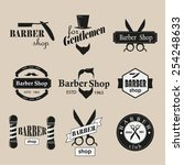 retro barber shop logotypes set. | Shutterstock .eps vector #254248633
