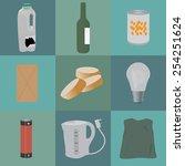 set of nine trash items for...   Shutterstock .eps vector #254251624