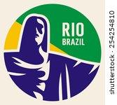 travel sticker brazil. vector... | Shutterstock .eps vector #254254810