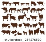 Stock vector farm animals set of vector icons on a white background 254276530
