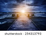old wooden jetty during storm... | Shutterstock . vector #254313793