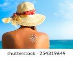 suntan lotion woman with... | Shutterstock . vector #254319649