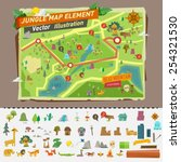 jungle map with graphic... | Shutterstock .eps vector #254321530