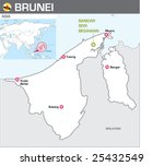 Map of Brunei - stock vector