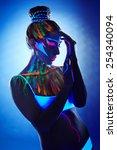 portrait of beautiful girl with ... | Shutterstock . vector #254340094