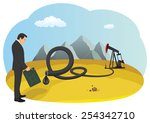 businessman with a fuel can is... | Shutterstock .eps vector #254342710