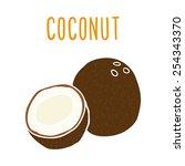 coconut. vector eps 10 hand... | Shutterstock .eps vector #254343370