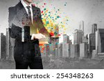 businessman with tablet pc | Shutterstock . vector #254348263