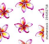 watercolor frangipani seamless... | Shutterstock .eps vector #254352718
