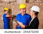 builder and supervisor on...   Shutterstock . vector #254373250