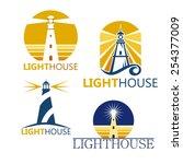 colorful lighthouse symbols set ... | Shutterstock .eps vector #254377009