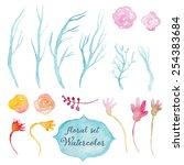 watercolor vector floral set.... | Shutterstock .eps vector #254383684