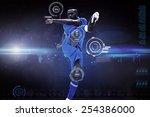 football player against blue... | Shutterstock . vector #254386000