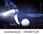 football player kicking ball... | Shutterstock . vector #254387128