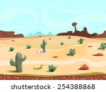 seamless cartoon desert... | Shutterstock .eps vector #254388868