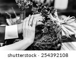 hands and rings on wedding... | Shutterstock . vector #254392108