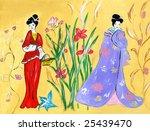 Geisha. Free-hand gouache drawing. - stock photo