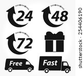 vector delivery black icons | Shutterstock .eps vector #254406190