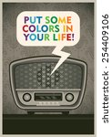 poster with vintage radio.... | Shutterstock .eps vector #254409106
