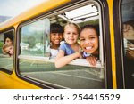 cute pupils smiling at camera... | Shutterstock . vector #254415529