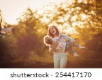 mother and little daughter... | Shutterstock . vector #254417170