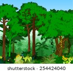 vector tropical rainforest... | Shutterstock .eps vector #254424040