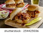 pulled pork barbeque sliders... | Shutterstock . vector #254425036