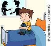 sad child in bedroom  angry... | Shutterstock .eps vector #254430460