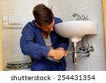 a plumber  insatallateur  at... | Shutterstock . vector #254431354