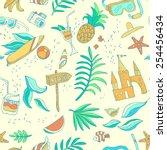 seamless summer illustration   Shutterstock .eps vector #254456434