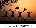 group children jumping in sunset | Shutterstock . vector #254473216