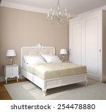 classical bedroom interior. 3d... | Shutterstock . vector #254478880
