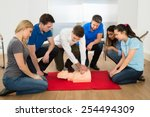 first aid instructor showing...   Shutterstock . vector #254494309