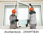 two male industrial builders... | Shutterstock . vector #254497834