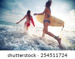 two young ladies surfers... | Shutterstock . vector #254511724