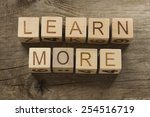 learn more text ona wooden... | Shutterstock . vector #254516719