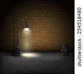 vintage streetlamp on brick...   Shutterstock .eps vector #254518480