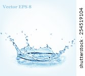Blue Water Splash  Vector...