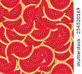watermelon pattern  | Shutterstock .eps vector #254520169