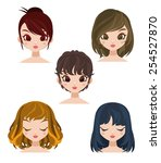 a set of cute girl with... | Shutterstock .eps vector #254527870