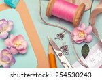 scrapbook background. card and... | Shutterstock . vector #254530243