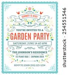 vector garden party invitation... | Shutterstock .eps vector #254551546